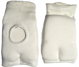 Elasticised Cotton hand Mitts - White