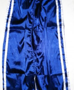 Elastic Waist Pants - Satin - Blue with White stripe