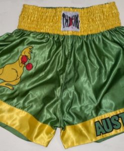 Thai King Muay Thai Shorts- Gold & Green Boxing Kangaroo