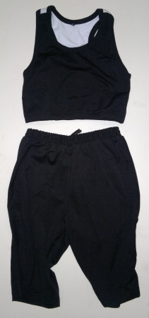 Stretch Top + Shorts set (girls) Black with White trim