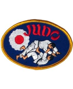 judo throw emblem blue