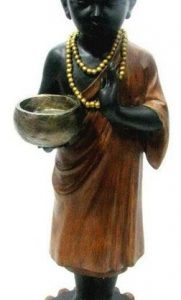 63CM STANDING BOY BUDDHA MONK WITH BOWL ON BASE