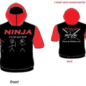 tshirt with hood black red
