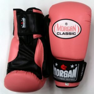 morgan classic curved leather boxing gloves pink