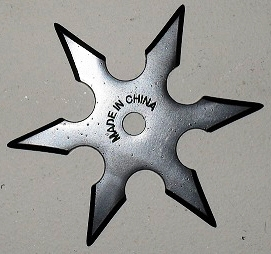 6 point Live Blade Throwing Star- Black