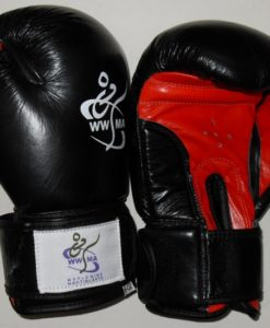 WWMA leather boxing gloves kids black red