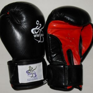 WWMA leather kids boxing gloves black red