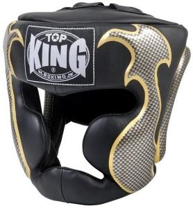 Top King Head Guard white screen printed black finish