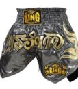 Top King Thai Boxing Shorts - Silver/Gold
