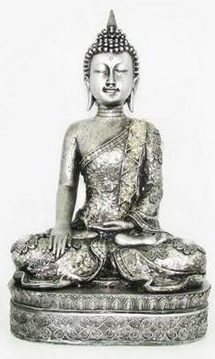 39CM SILVER THAI BUDDHA ON PEDESTAL