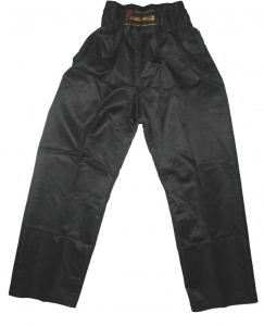 Elastic Waist Pants - Satin - Black
