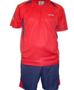 warrior red shirt and blue short set