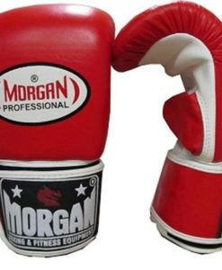 Morgan Professional Curved Leather Bag Mitts- Red & White