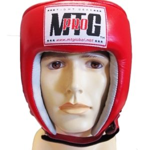 MTG pro open face leather head guard red