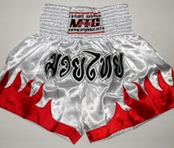 MTG Shorts - White with Red flame - Black Thai writing