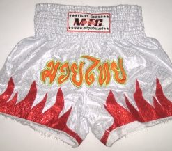 MTG Shorts - White with Red flame - Yellow Thai writing
