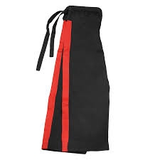 karate pants black red stripe