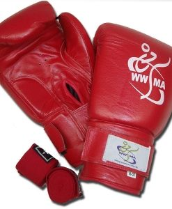 WWMA boxing gloves leather red