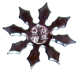 Throwing star with text