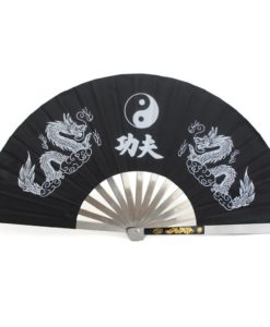Black Tai Chi Fan Steel